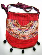 Huipil Bag -  Large Half Moon Joyabaj Red 8