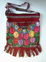 Huipil Bag -  Large  Half Moon Patzun Flowers 11 ***SOLD***