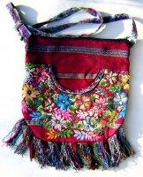 Huipil Bag -  Medium Half Moon Patzun Flowers 10 ***SOLD***