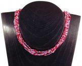 6 Strand Collar Necklace - Cotton Candy Tweed