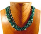 Short with Stones Necklace - Caribbean Green Shine with Green Stones