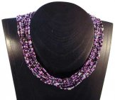 12 Strand Collar Necklace - Lilac Tweed