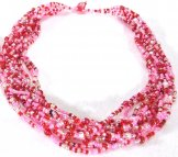 12 Strand Collar Necklace - Cotton Candy Tweed