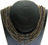 Classic 24 Strand Necklace - Bronze  - Pewter Center Bead