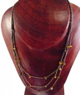 3 Strand Long Bib with Stones Necklace - Bronze with Tiger-Eye Stones