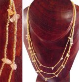 3 Strand Long Bib with Stones Necklace - Gold Shine with Carnelian Stones