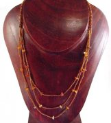3 Strand Long Bib with Stones Necklace - Sunset Slick with Carnelian Stones