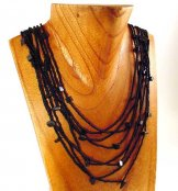 Bib with Stones Necklace - Black with Black Stones