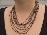 Bib with Stones Necklace - Bronze with Tiger Eye Stones