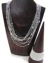 Bib with Stones Necklace - Silver Shine with Quartz Stones