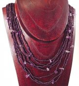 Bib with Stones Necklace - Claret Shine with Amethyst Stones