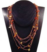Bib with Stones Necklace - Sunset Slick with Carnelian Stones