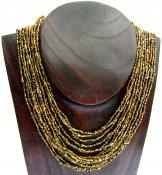 Bib Necklace - Gold Tweed