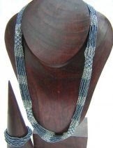 Tube Necklace - Grey with Silver