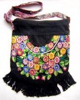 Huipil Bag -  Large  Half Moon Patzun Flowers Black ***SOLD***
