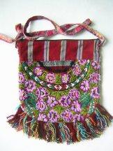 Huipil Bag -  Medium Half Moon Patzun Flowers 12 ***SOLD***
