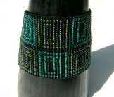 Wide - Pattern Woven Bracelet - Greek Key - Rhodes Green