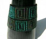 Wide - Pattern Woven Bracelet - Greek Key - Rhodes Green