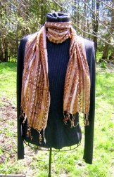 Skinny Scarf - Ribbon Stripe - Coffee