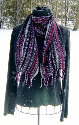 Skinny Scarf - Ribbon Stripe - Black and Plum