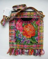 Huipil Bag -  Med Square Chichicastenango Roses 5 ***SOLD***