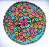 Round Huipil Pillow - Flowers on Turquoise ***SOLD***