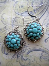 Round Turquoise Crystal Earrings in Silver