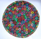 Round Huipil Pillow - Flowers on Green ***SOLD***