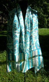 Silk Shawl - White with Turquoise