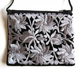 Black Velvet Medium Pouch - Silver Gray