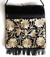 Large Fringed Black Velvet Bag - Cream
