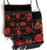 Large Fringed Black Velvet Bag - Rust