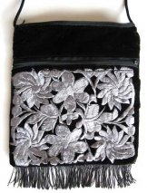 Large Fringed Black Velvet Bag - Silver Gray