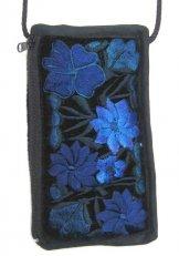Black Velvet Eyeglass Case - Blue
