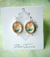 Victorian Swallow Earrings - Oval Silver