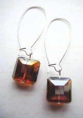Crystal Square Earrings - Flame