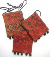 Assorted Huipil Pocket Bags with Ball Fringe