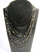 Bib with Stones Necklace - Black Sand