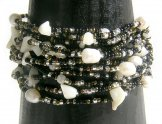 Monaco Bracelet - Black Sand with Pearls & Crystals