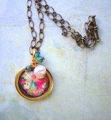 Blue Cherub Necklace - Gold