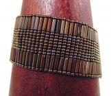 Medium - Bugle Bead Woven Bracelet - Bronze