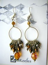 Crystal Beaded Hoops - Bronze
