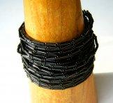 Wide Black Bugle 24 Strand Bracelet