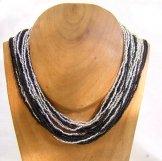 Classic 24 Strand Necklace - Black & Silver