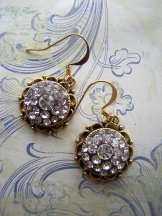 Round Crystal Earring in Gold