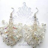 Stone Cluster Earrings - Crystal