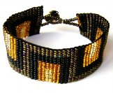 Medium  - Art Deco Woven Bracelet - Bronze/Black