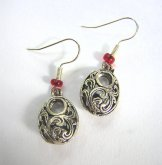 Filigree Keyhole Earrings Red  (Also available with white or black accent)