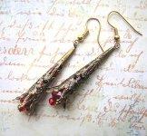 Antique Brass Filigree Earrings- Crimson