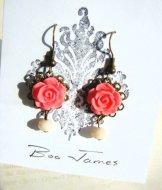 Vintage Rose Earrings - Salmon